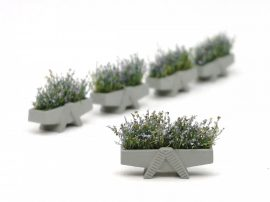 """A-foot"" concrete flower box, painted livery with flowers(5 pcs.)"