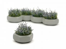 Hexagonal concrete flower box, painted livery with flowers (5 pcs.)